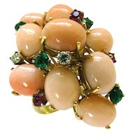 A Coral and Gemstone Cocktail Ring c1960