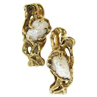 Arthur King Pearl Gold Cufflinks c1970