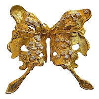 Diamond Gold Moth Brooch 1970