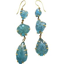 A Pair Of Carved Aquamarine Earrings