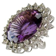 Amethyst and Diamond Cocktail Ring 50 Carat Circa 1960