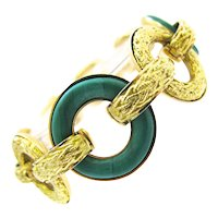 Ulmer et Cie Malachite and Gold Link Modular Jewel