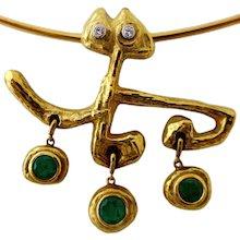 Masenza Roma Gold and Emerald Choker Attributed to Afro Basaldella circa 1955