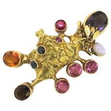 Fernand Demaret Multiple Gemstone Gold Pendant/Brooch with Bee