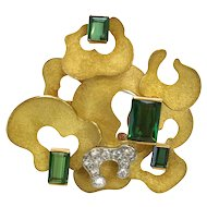 Andrew Grima Diamond and Tourmaline Brooch 1970