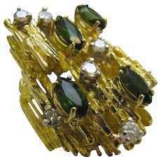 Tourmaline and Diamond Cocktail Ring circa 1970