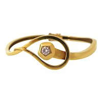 18k Gold and Diamond Nail Head Bracelet circa 1970
