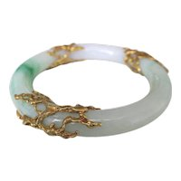 Arthur King Jade and Gold Bangle Bracelet