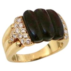 1970s Boucheron Wood Diamond and Gold Ring