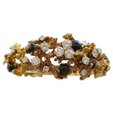 Black Star Sapphire and Diamond Free-Form Bracelet, circa 1970