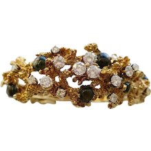 Black Star Sapphire and Diamond Free-Form Bracelet, circa 1970