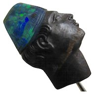 Carved Boulder Opal Blackamoor Antique Stickpin