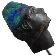 Carved Boulder Opal Blackamoor Antique Stickpin