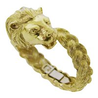 Gold Lion Head Zodiac Bangle Bracelet Circa 1970