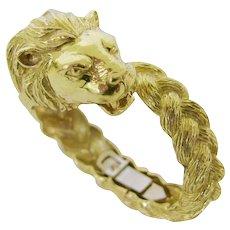 Gold Lion Head Zodiac Bangle Bracelet Circa 1970