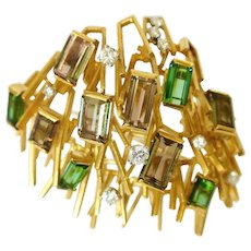 1965 Andrew Grima Modernist Tourmaline  Diamond Gold Brooch