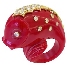 Massive Carved Plastic and Diamond Fish Ring, circa 1980