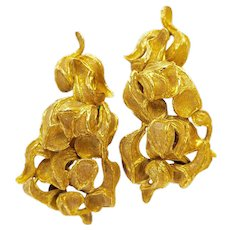 1960s Greek Freeform Gold Clip Earrings