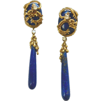 Vintage Erwin Pearl Lapis and Diamond Chimera Day/Night Earrings, 1960s