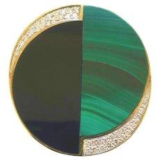 Vintage La Triomphe Malachite Onyx and Diamond Pendant/Brooch, 1970s
