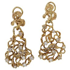Free-Form Gold and Diamond Dangle Earrings, 1970s