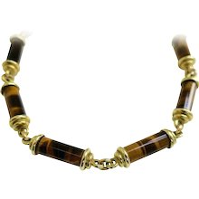 Gold and Tigers Eye Link Necklace