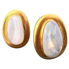 Impressive Burle Marx Moonstone and Gold Earrings