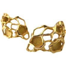 Gubelin Gold Modernist Earrings, 1970s