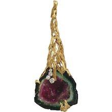 1970s Gilbert Albert Watermelon Tourmaline Gold Pendant