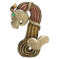 Gold, Diamond, Ruby and Emerald Brooch, circa 1945