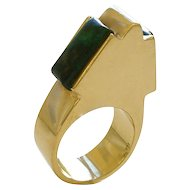 Gold and Azure Malachite Ring circa 1970