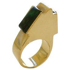 Gold and Azure Malachite Ring circa 1970