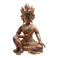 Bronze Gilded Figure of a Guanyin