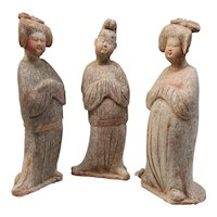 Group of Three Terracotta Court Figures