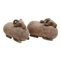 Pair of Han dynasty Ram-Shaped Vessels