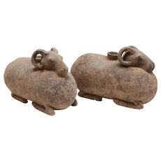 Pair of Han dynasty Ram-Shaped Vessels