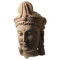 Schist Stone Head of a Bodhisattva