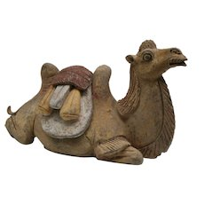 Terracotta Tang Dynasty Figure of a Reclining Camel