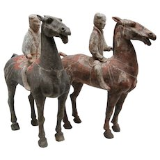 Pair of Terracotta Han Dynasty Horses with Riders