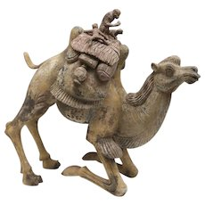 Terracotta Tang-Dynasty Figure of a Kneeling Camel