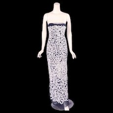 Chanel Haute Couture Lesage Beaded Strapless Evening Dress