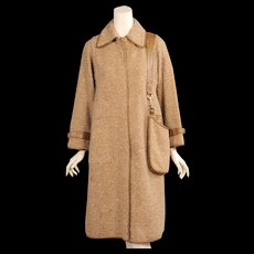 Bonnie Cashin for Sills Leather Trimmed Wool Coat with Attached Shoulder Bag