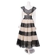 Jean Patou Haute Couture Black & Cream Lace Evening Dress
