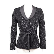 Badgley Mischka Beaded Tuxedo Evening Jacket