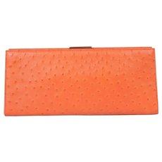 Tiffany & Co. Orange Ostrich Skin Clutch, Never Used