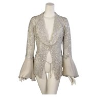 Gianfranco Ferre Silver Beaded Silk Organza Jacket