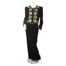 Yves Saint Laurent Black Velvet Suit with Gold Soutavche Braid