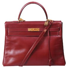 Hermes Vintage Burgundy Kelly Bag 35cm