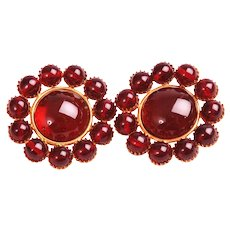Chanel Couture Gripoix Red Poured Glass Earrings, Book Piece