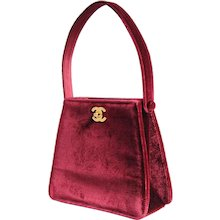 Chanel Couture Double Sided Red Velvet Bag